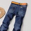 2016 Elástico fino Nova Moda de Alta Qualidade calças de Brim Dos Homens Famosa Marca de Algodão Denim Lavado Calças Jeans Reta Casuais mais