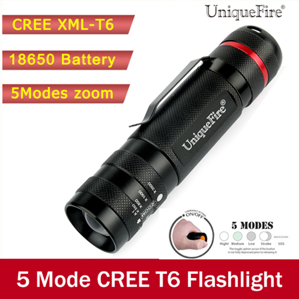 UniqueFire Ultra Bright 5 Mode CREE XML T6 1200LM Zoomable Led Flashlight Waterproof Torch Lights Bike Light For Camping,Hunting uniquefire 1508 75 cree xml xml2 led flashlight torch 1200lm single file lantern 18650 adjustable focus for camping