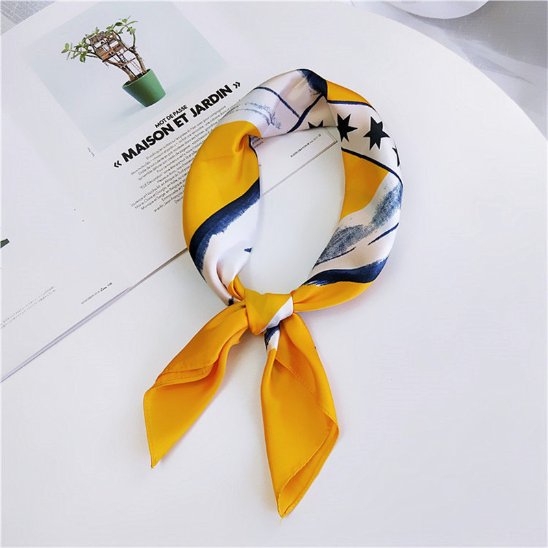 70*70cm Women Summer Vintage Foulard Square Silk Feel Satin Scarf Skinny Elegant Head Neck Hair Tie Band Wrap Bandana