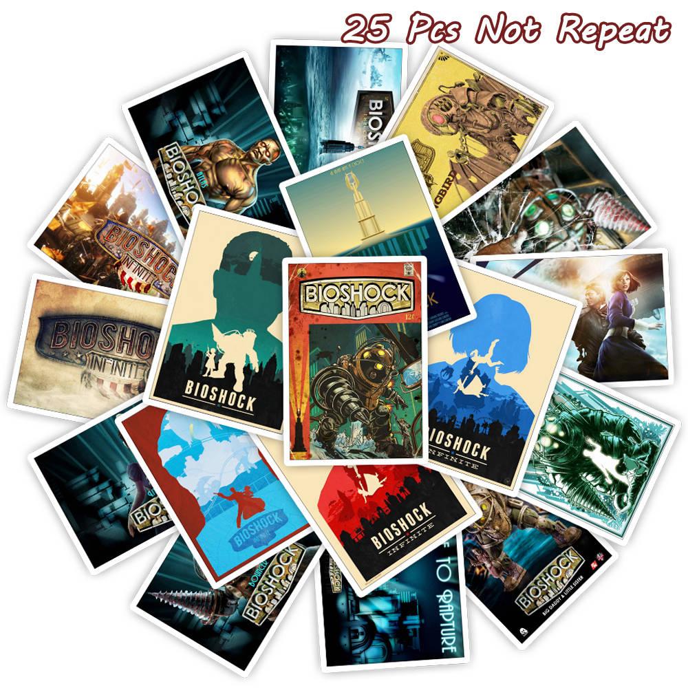 25PCS Bioshock Game Stickers Waterproof Vinyl Poster Sticker Cars Trucks Vans Walls Laptop Decal Luggage Wall Toy Stickers