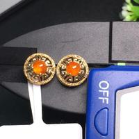 607 Fine Jewelry Real Pure 18 K Yellow Gold AU750 100% Natural Red Jade Amulet Gemstone Myanmer Origin Stud Earrings for Women