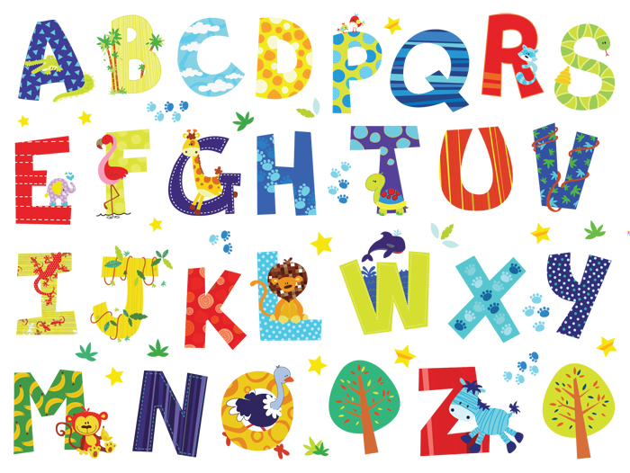 26 Alphabet Letters Creative Wall Stickers 4 Colors A Z