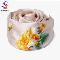 BYSIFA китайский пион вышивка шелковый шарф шаль Для женщин 2018 новый роскошный 16 момме тяжелый шелк 100% шелк двойной Слои Длинные шарфы мыс