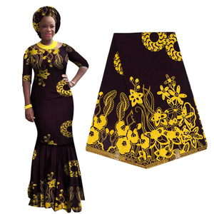 Image 1 - 100% Cotton Ankara African Printing Batik Fabric Real Wax Africa Tissu Sewing Material For Party Dress Artwork Craft DIY Textile