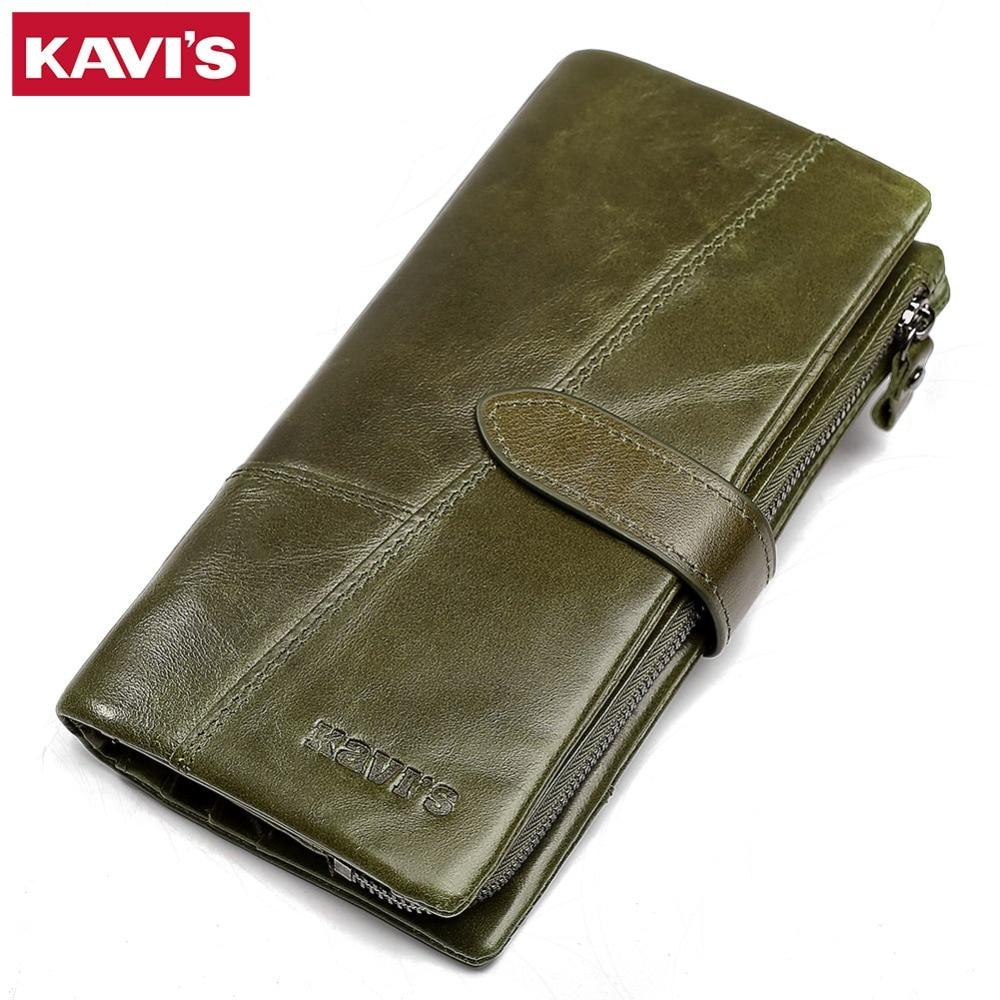 KAVIS Fashion 100% Genuine Leather Wallet female Coin Purse Portomonee Handy Long Clamp for Money Lady Vallet Card Holder Girls kavis 100