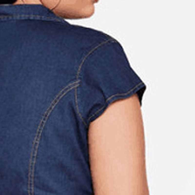Женский Летний джинсовый комбинезон размера плюс, короткий рукав, 2019, Ретро стиль, повседневный комбинезон, тонкий, на молнии, с карманами, модный, уличный, длинный комбинезон