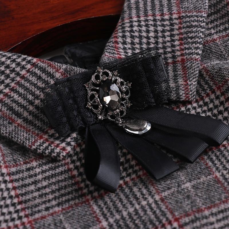 Tricoté Haute Designers Manches Volants Laine Gris Robe Robes À Ourlet De Femmes Vintage Hiver Qualité 2018 Plaid Patchwork Longues Mode vxwrYPvq