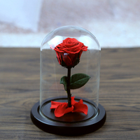 5 Color The Beautiful Glass Cover Fresh Preserved Rose Flower Wedding Home Birthday Party Car Decoration