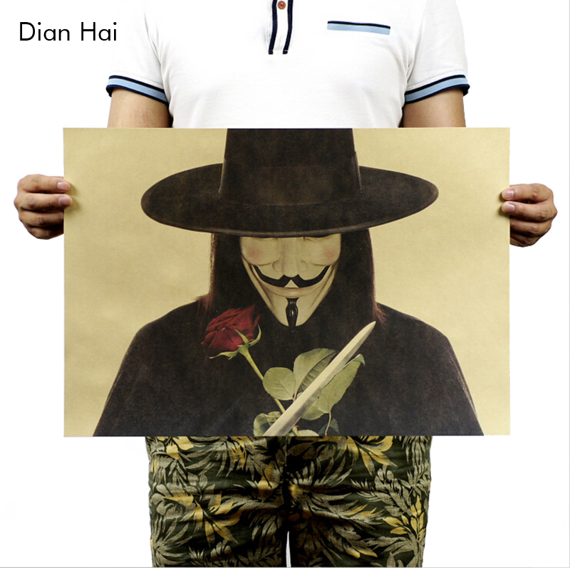 V For Vendetta / B Models / Classic Poster / Kraft Paper Poster Painting Core 51x35.5cm ...