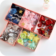 New boxed ten sets of hair accessories childrens fabric bow crown hairpin baby side clip princess