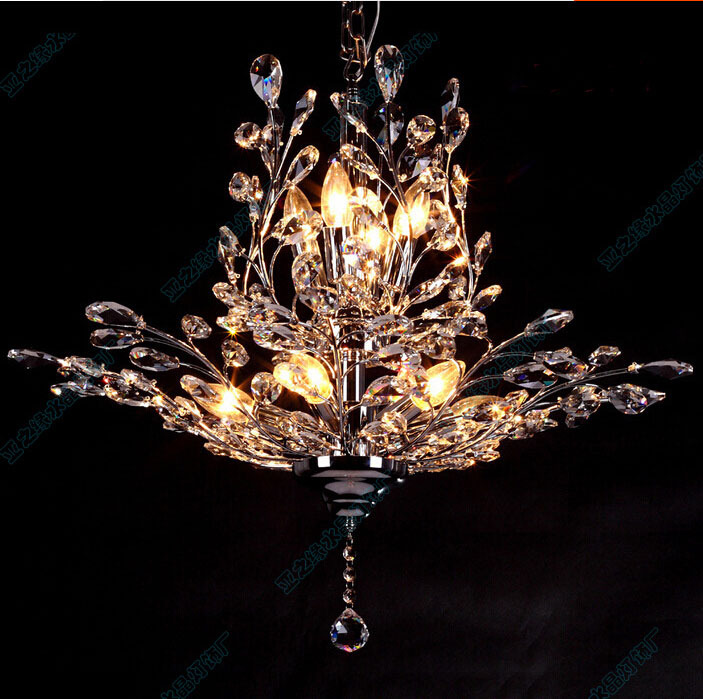 modern 70cm candles k9 crystal chandelier tree leaf. Black Bedroom Furniture Sets. Home Design Ideas