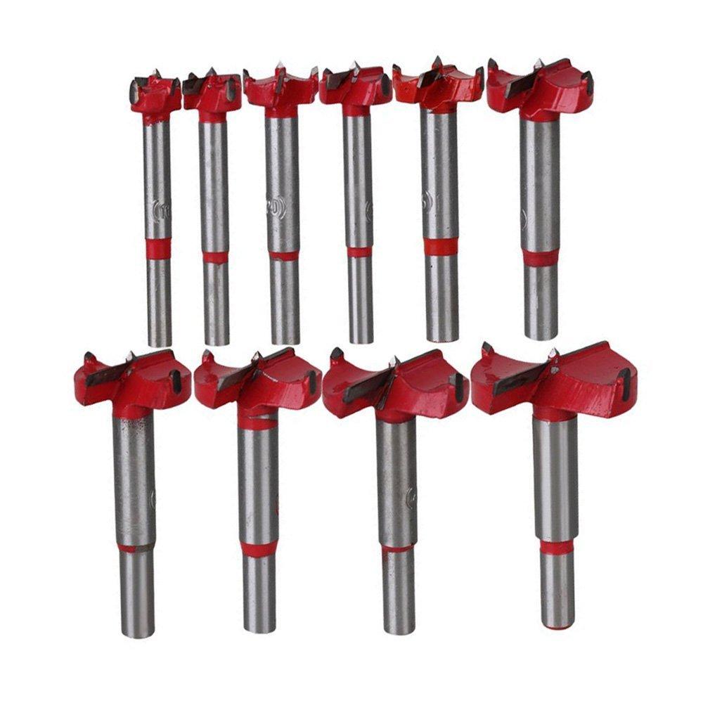 10Pcs Professional Forstner Drill Bit Set Woodworking Hole Saw Wood Cutter, Alloy Steel Wood Drilling Woodworking Hole Boring