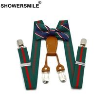 SHOWERSMILE Suspenders Kids Wedding Children Girls Baby Boys Bow Tie Set Santa Christmas Green Braces for Trousers