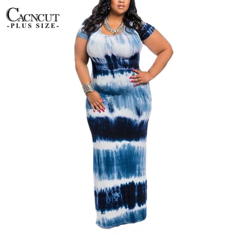 CACNCUT Summer New Floor-Length Long Dresses Women 4XL Plus Size O-neck print Dresses Femme Big size Beach Sundress 4 colors