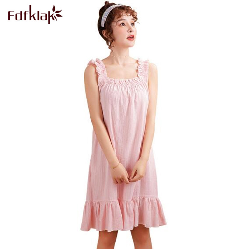 Fdfklak Casual Sweet Women Nightgown Nightshirt Sleeveless Cotton Night Dress Female Sleepwear Nightdress Loose Ladies Dresses