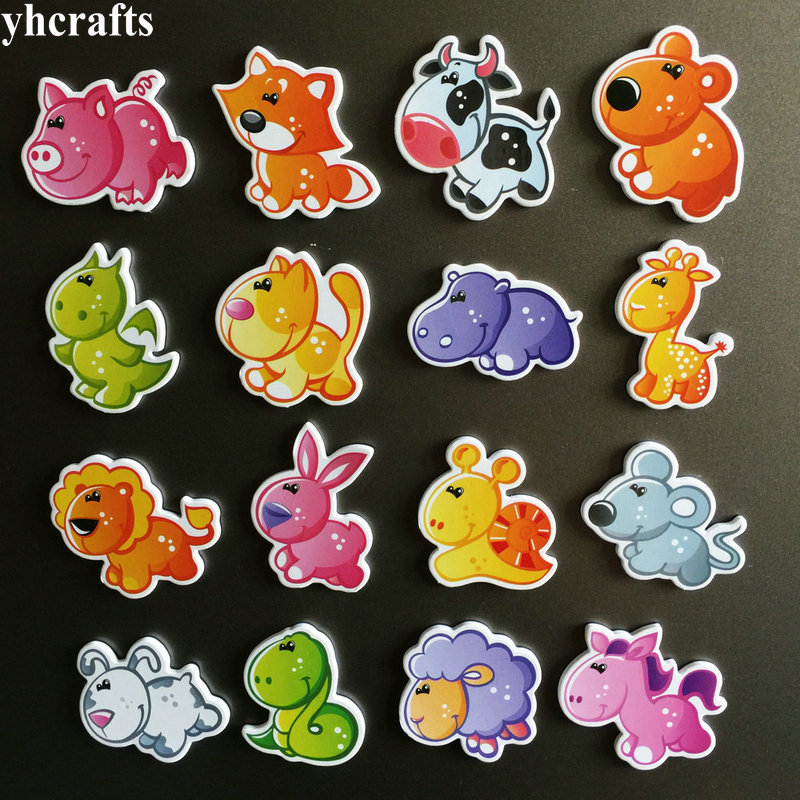 16PCS/LOT.NEW Arrival Poultry Livestock Zoo Animals Magnet Fridge White Blackboard Magnet Kindergarten Crafts Birthday GiftsOEM