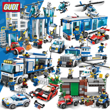 GUDI City Police Series Building Blocks Compatible  Helicopter car Figures Bricks Assembled Toys Educational Children Gifts 407pcs decool 3355 technic city series rescue helicopter figure blocks compatible legoe building bricks toys for children