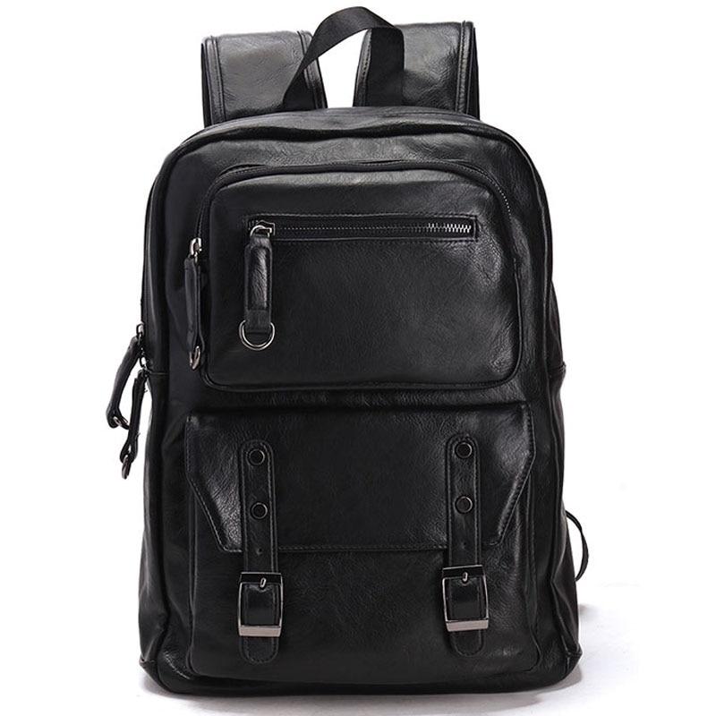 New Men's Backpacks Travel Bag Leather Student Casual Laptop Backpack School Bags for Teenagers Famous Brands Mochila Feminina vintage casual leather travel bags famous brand school backpacks women bag mochila backpack lovely girls school bags ladies bag