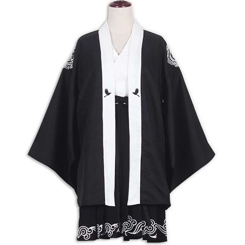 Japanese Harajuku Kimono Women Traditional Black Yukata Embroideried Crane Bathrobe New S/M Size For Adult Women japanese kimono style coat for pet cat dog black pink size m