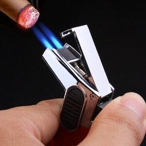 2019 Tube gas Lighter Blue Flame Spray Gun Electronic Lighter Visible gas Butane Torch Turbo Lighter Cigar Cigarette Lighters