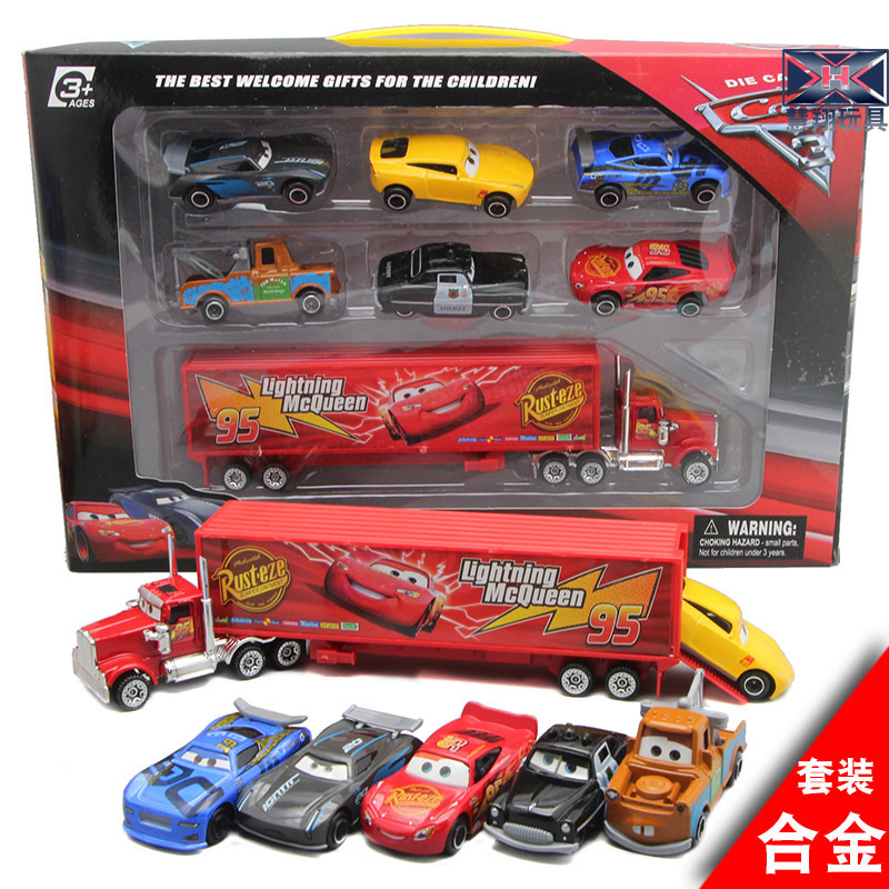 2019 New Hot Car Mobilization Mai Dashu Suit With Six Small Car Container Car Set Toy Car