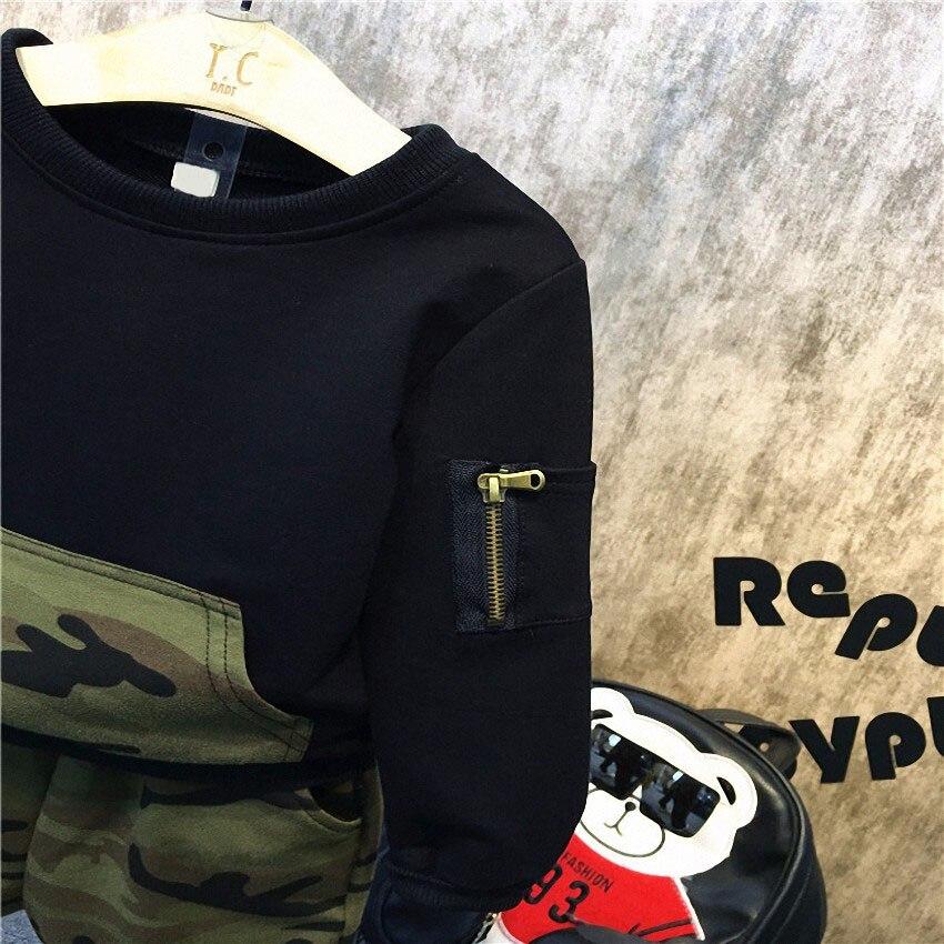 Комплекты одежды Belababy для мальчиков детские весенние спортивные Повседневная рубашка с длинными рукавами + брюки 2 шт.; детский Камуфляжный спортивный костюм для мальчиков