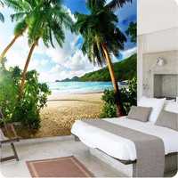 Photo Wallpaper High Quality 3d Wall Paper Sea Palm Beach Island Travel TV Sofa Backdrop Bedroom