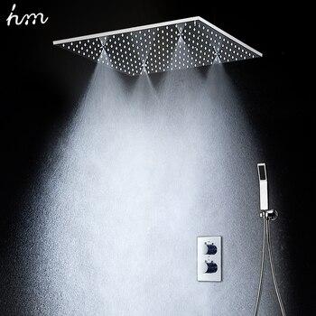 """20 """"Cabeza de ducha de mano de lluvia ducha termostática Set SUS304 Panel de espejo con cabezal de ducha niebla Spray SPA incrustado caja oculta"""