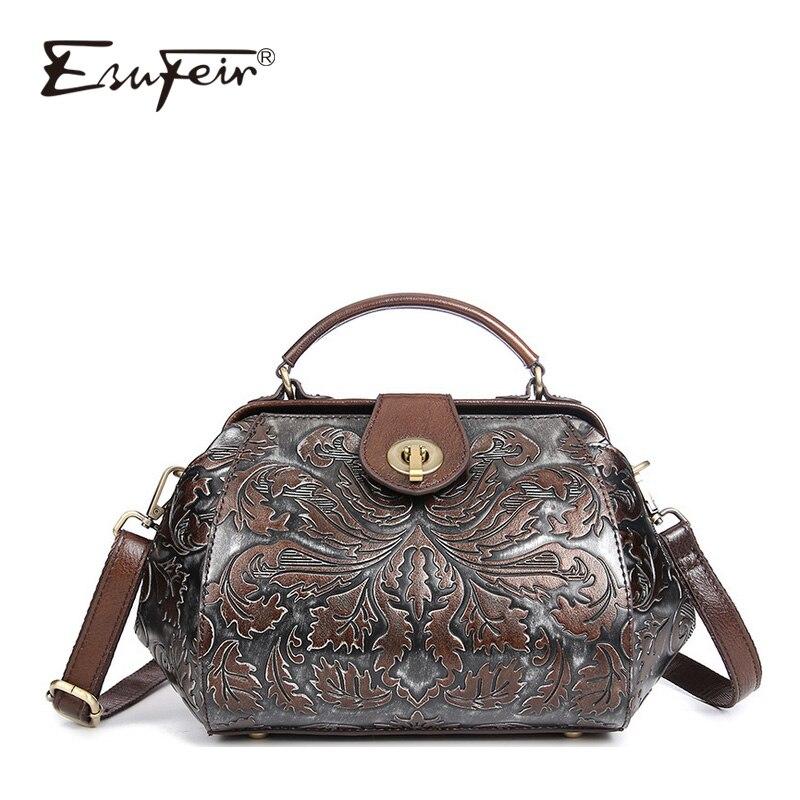 цены на ESUFEIR New 2018 Genuine Leather Messenger Bag handbag Shoulder Bag Vintage Leather Hand-embossed Simple Fashion Small Party Bag в интернет-магазинах