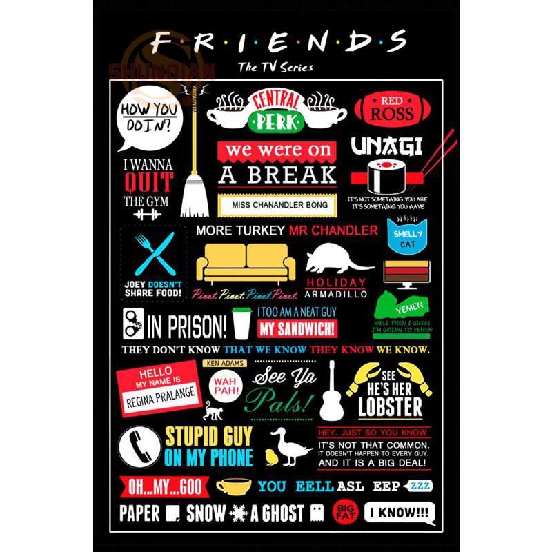 friends tv show poster print silk fabric print poster cloth fabric wall poster custom print satin poster cd 104