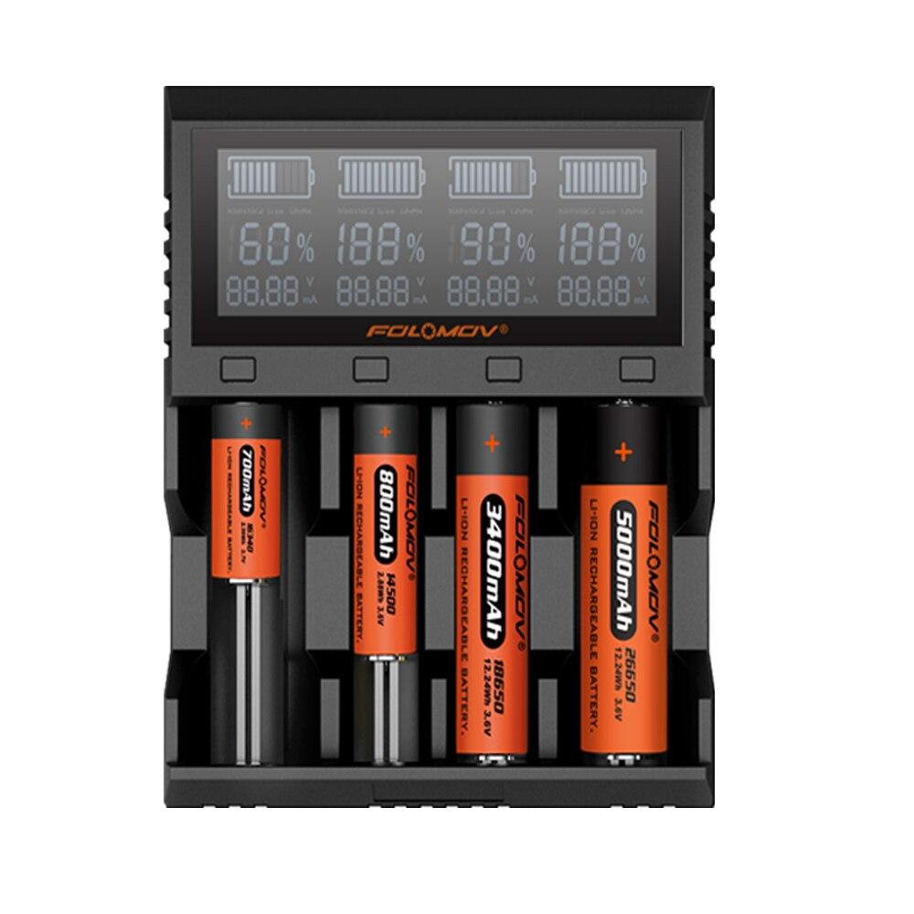 Folomov A4 Intelligent Battery Charger for for Li-ion/IMR/INR/ICR/LiFePO4 18650 14500 26650 AAA 3.7 4.2V 1.48VFolomov A4 Intelligent Battery Charger for for Li-ion/IMR/INR/ICR/LiFePO4 18650 14500 26650 AAA 3.7 4.2V 1.48V