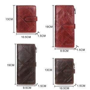 Image 4 - קשר של אדום ארוך מצמד ארנק נשים אמיתי פרה עור טלאי צמר Smartphone Wristlet ארנקים Hasp נקבה מטבע ארנק
