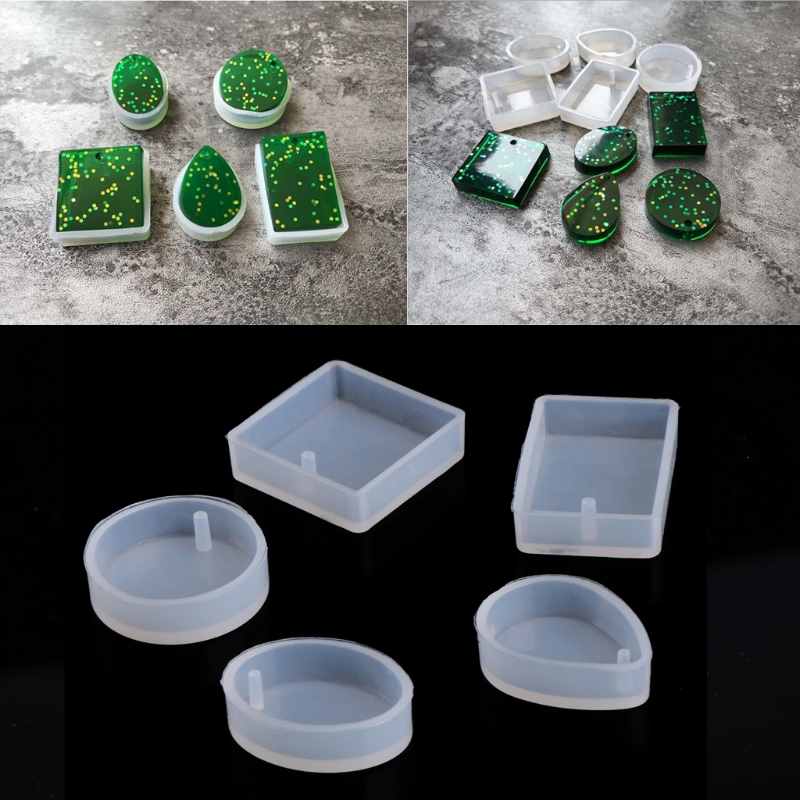 5pcs Silicone Mould Craft Mold Resin Necklace Pendant DIY Jewelry Tool