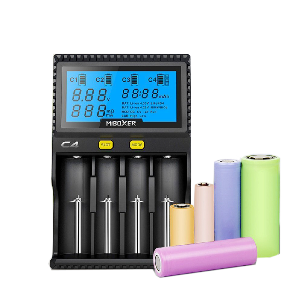Original Yakee Miboxer C4 VC4 LCD Battery Charger for Li-ion/IMR/INR/ICR/LiFePO4 18650 14500 26650 AAA 3.7 1.2V 1.5V Batteries evewher lcd 18650 battery charger 4 slots lithium battery charger for 26650 18650 14500 aa aaa charging li ion batteries charges