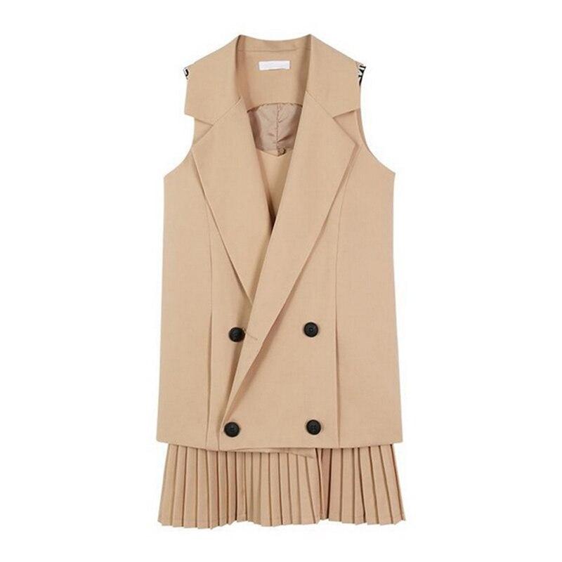 2 Piece Women Long Vest Jacket + Pleated Dress 4