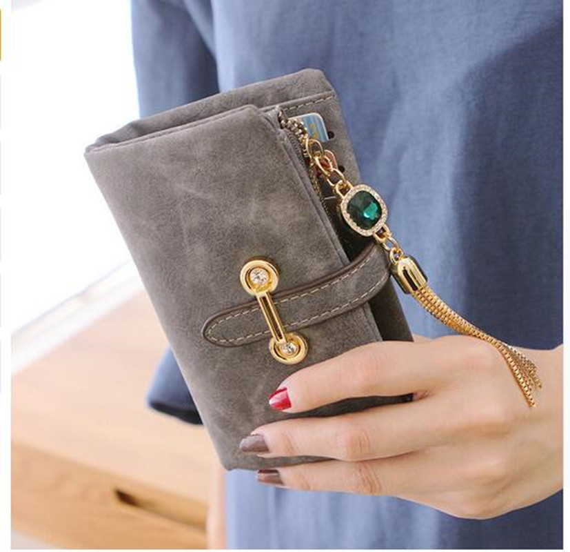 Nubuck leather women wallets female fashion zipper small wallet women short coin purse holders retro wallet