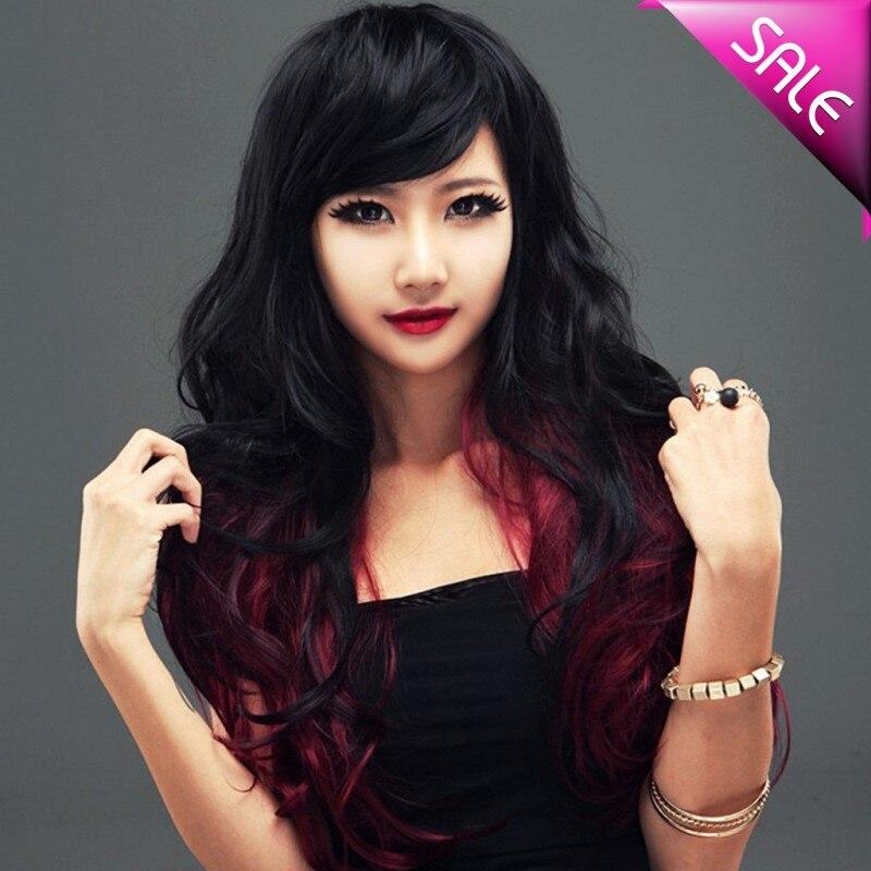 Muito Preto vermelho cor Ombre mulheres perucas de cabelo sintético Sexy  EH54