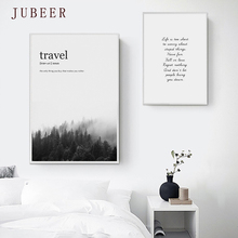 Scandinavian Style Quote Poster Forest Scenery Canvas Painting Wall Pictures for Living Room Decoration Pictures Home Decor
