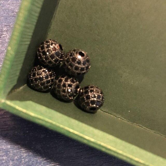 Купить модные круглые латунные бусины nadey с микро закрепкой из черного