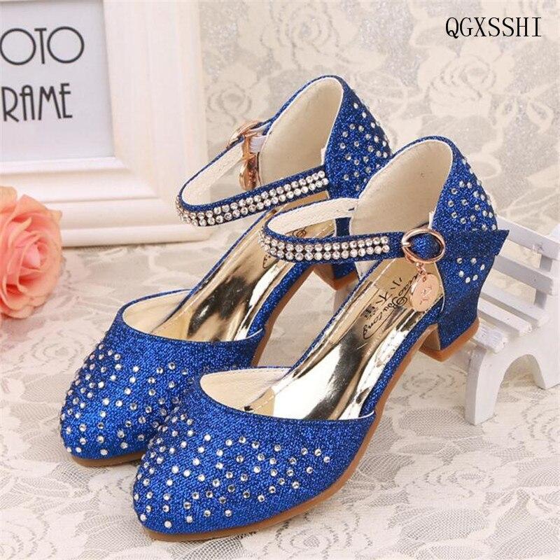 Qgxsshi nuevo 2016 niños princesa Sandalias Niñas Zapatos taladro brillante Tacones  altos vestido Zapatos partido Zapatos para Niñas danza Zapatos 2036b65fda81