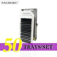 NAGARAKU 50 Trays/set J B C D Curl Length 7 15mm Mixed In One Tray Eyelash Extensions Individual Faux Mink Eyelash Lashes