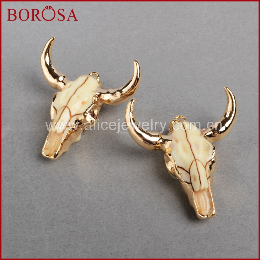 Image 5 - BOROSA buffalo Head bead ,Gold Color Bull Cattle Charm Bead Longhorn Resin Horn Cattle Pendant for Jewelry Accessories G0842-in Pendants from Jewelry & Accessories