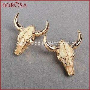Image 5 - BOROSA buffalo Kopf perle, Gold Farbe Bull Charm Bead Longhorn Harz Horn Vieh Anhänger für Schmuck Zubehör G0842