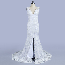 Mode Lace Mermaid Wedding Dresses Tanpa Lengan V Neck Bridal Party Dress Tinggi Slit Beach Pernikahan gaun 2018 Kedatangan Baru