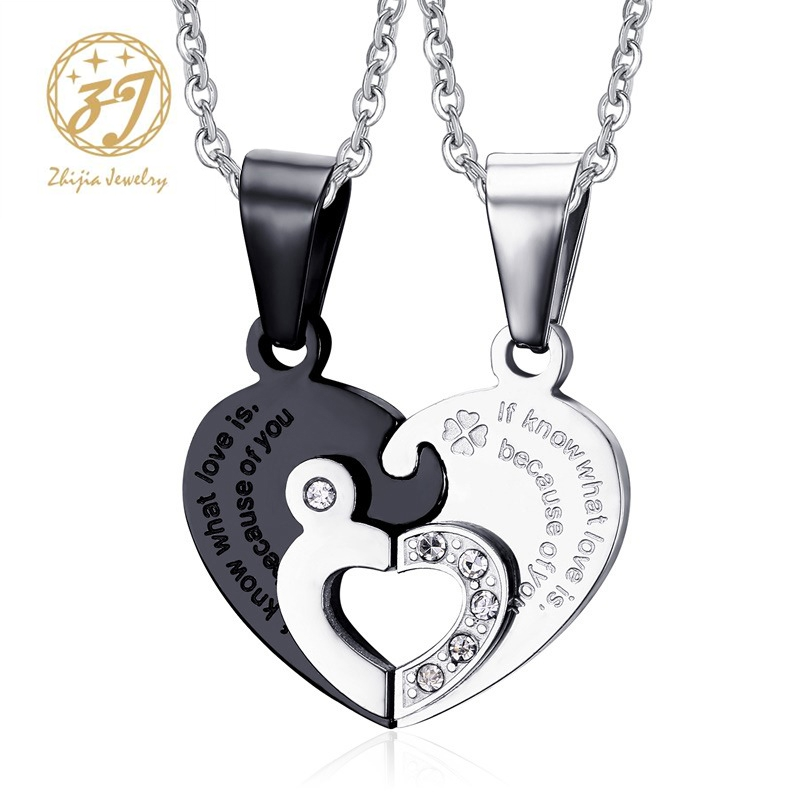Zhijia Jewelry 316l Stainless Steel Two Heart