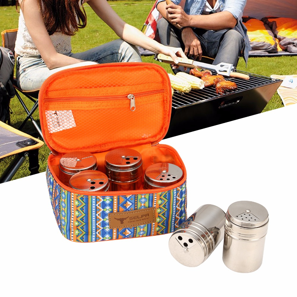 6pcs Seasoning Set & Storage Box Outdoor Camping Panic Seasoning Spice Jars Container Seasoning Shaker Stainless Steel Cans 021 multifunction s shape outdoor camping kitchen stainless steel hanging hooks silver 6 pcs