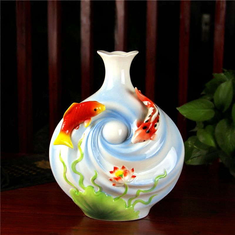 Jingdezhen ceramic vase double pearl porcelain Swan lovers when annunciation Pisces Home Furnishing decorative porcelain decorat