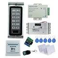 Lector de tarjetas RFID de control de acceso de Metal K2 + eléctrico gota pestillo de la cerradura + 3A/12 V fuente de alimentación + botón de salida + 10 unids tarjetas llave + control remoto