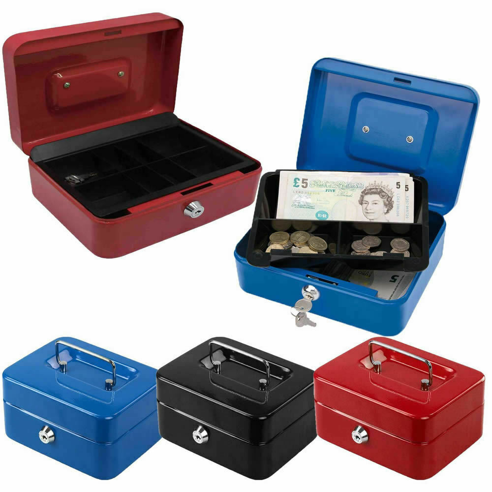 Locking Cash Box Money Small Steel Lock Security Safe Storage Check Large Size