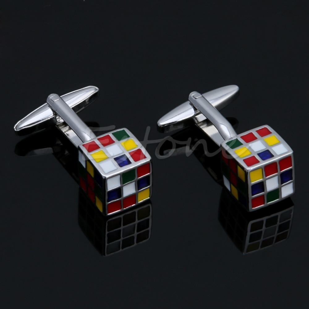 Shirt design kit - Pair Men S Stainless Steel Cufflink Rubik Cube Design Dress Shirt Cuff Links China Mainland